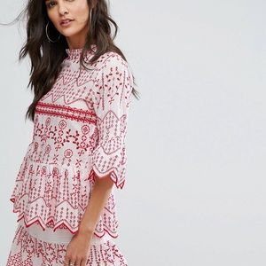 RIVER ISLAND Embroidered Long Sleeve Smock Top